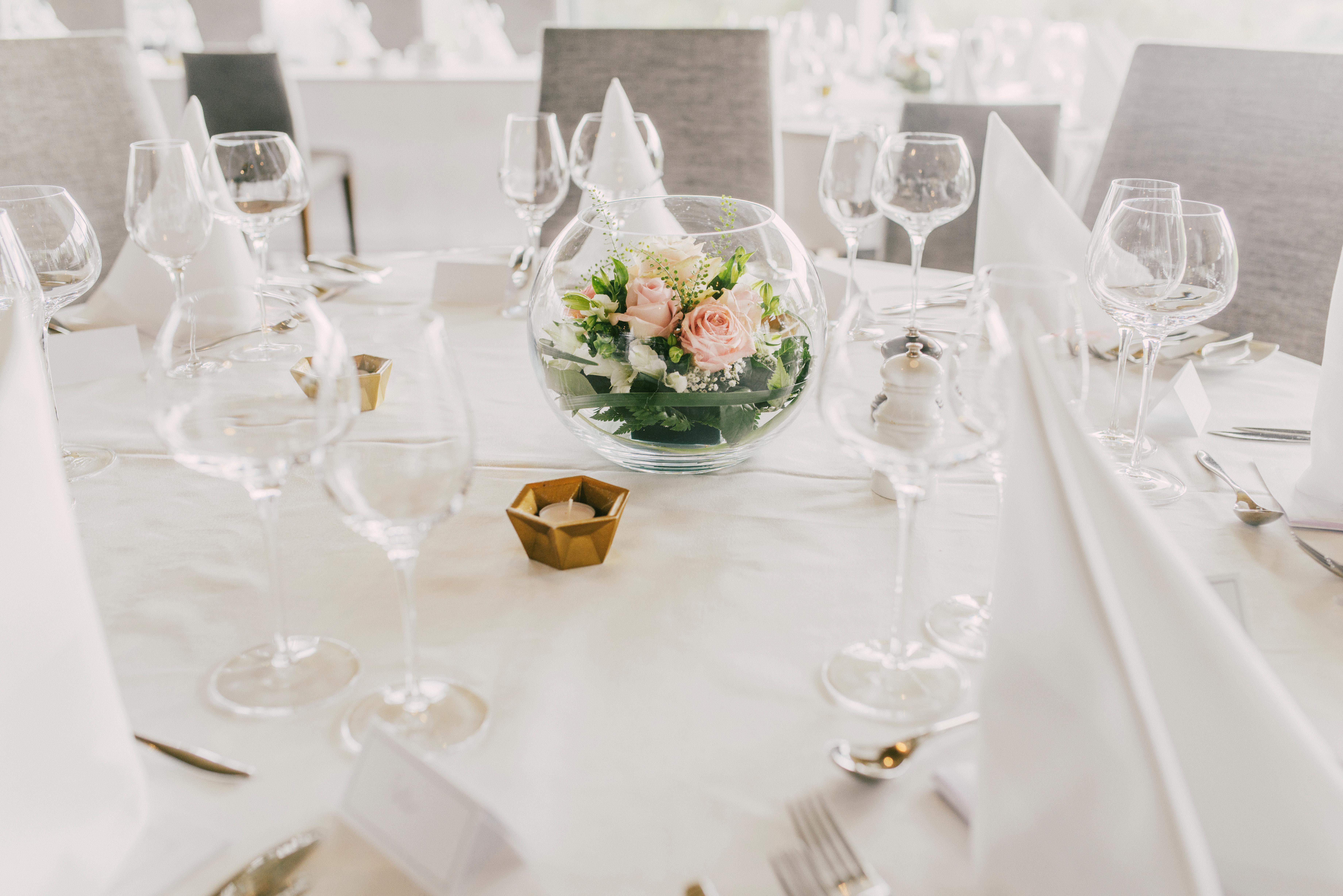 festdukning på bröllop och fest