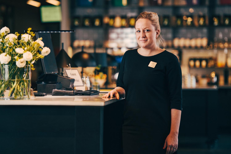 reception och guest service area välkommen